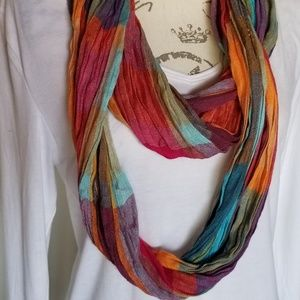 Colorful long scarf fall reds blues L 40""